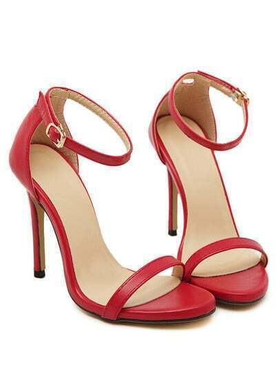 Red Stiletto High Heel Ankle Strap Sandals