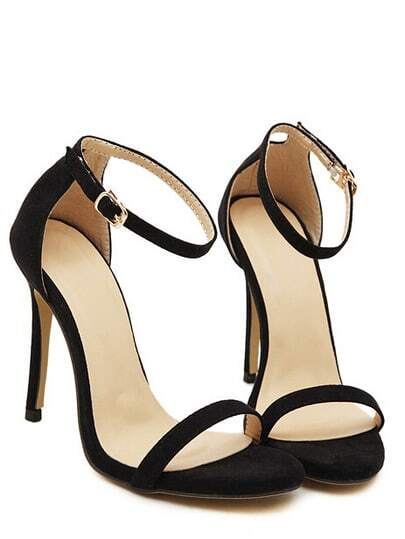 Black Stiletto High Heel Ankle Strap Sandals pictures