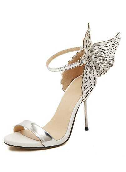 Silver High Heel Butterfly Sandals