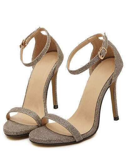 Gold Stiletto High Heel Ankle Strap Sandals