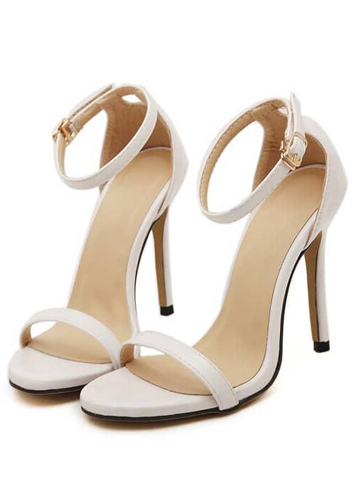 White Stiletto High Heel Ankle Strap Sandals -SheIn(Sheinside)