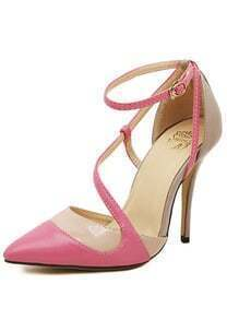 Pink High Heel Point Toe Ankle Strap Pumps