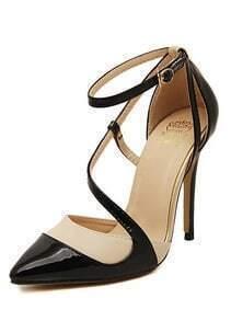 Black High Heel Point Toe Ankle Strap Pumps