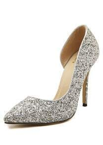 Silver Stiletto High Heel Sparkle Pumps