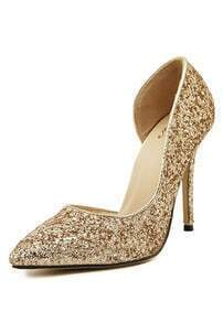 Gold Stiletto High Heel Sparkle Pumps