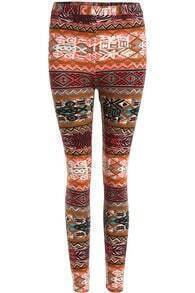Orange Slim Elastic Tribal Print Legging