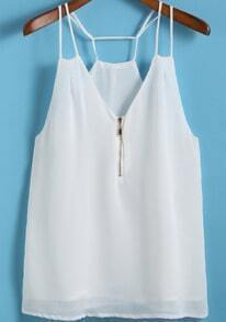White Spaghetti Strap Zipper Cami Top