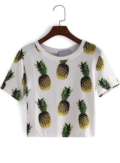 White Short Sleeve Pineapple Print Crop T-Shirt