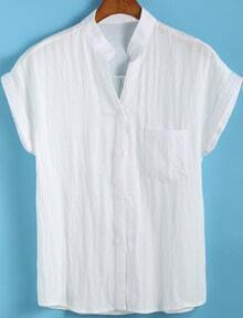 White Stand Collar Short Sleeve Pocket Blouse