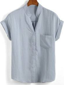 Grey Stand Collar Short Sleeve Pocket Blouse