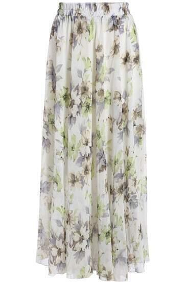 White Floral Chiffon Long Skirt