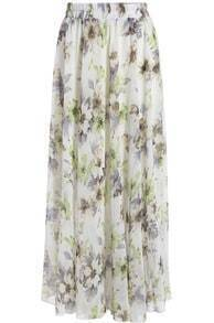White Floral Chiffon Long Skirt