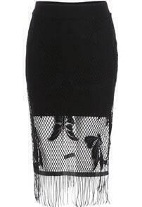 Black Hollow Lace Tassel Skirt