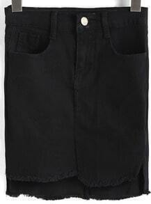 Black Pockets Fringe Denim Skirt