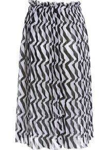 Black White Geometric Print Chiffon Skirt