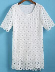 White Short Sleeve Floral Crochet Dress
