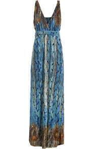 Blue V Neck Sleeveless Motley Feather Print Maxi Dress
