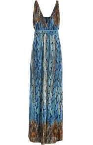 Blue V Neck Sleeveless Motley Feather Print Maxi Dress