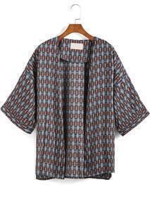 Blue Geometric Print Loose Kimono