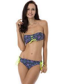Purple Floral Swimwear with Lace-up Front & Brazilian Cut Scrunch Butt