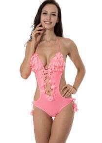 Pink 3D Decorative Leaves with Rihnestones Triangle Top Monokini Swimsuit