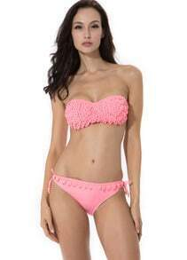 Pink Push-up Molded Cups Bandeau Top Bikini with Shining Stones