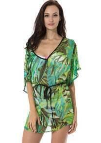Jungle Leaf Sheer Chiffon Beach Dress with Drawstring at Waistline