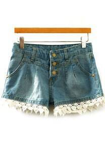 Contrast Lace Single-breasted Denim Shorts