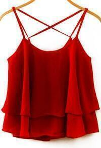 Spaghetti Strap Double Layels Chiffon Wine Red Cami Top