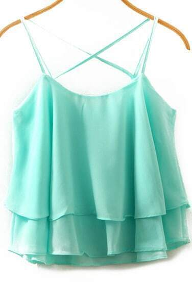Spaghetti Strap Double Layels Chiffon Blue Cami Top