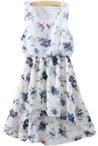Flower Print High Low Chiffon Blue Dress