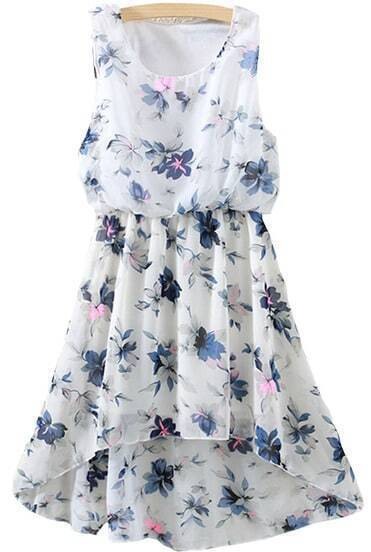Flower Print High Low Chiffon Blue Dress