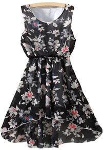 Florals High Low Chiffon Black Dress