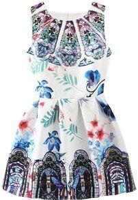 Sleeveless Florals A-Line Dress