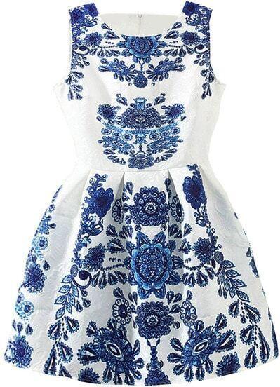 Sleeveless Blue And White Porcelain Print Flare Dress