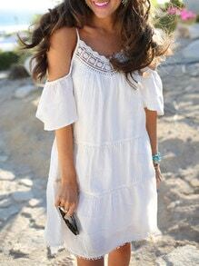 White Off The Shoulder Spaghetti Strap With Lace Dress