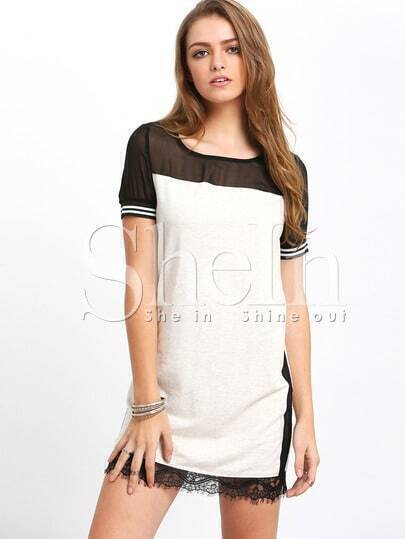 Grey Short Sleeve Colorblock Contrast Sheer Dress