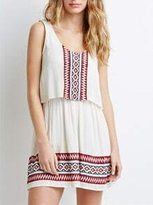 White Sleeveless Geometric Embroidered Dress