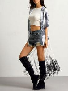 Grey Short Sleeve With Tassel Kimono
