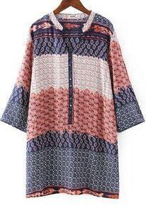 Orange Blue V Neck Floral Rivet Loose Dress