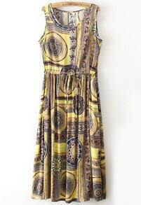 Yellow Sleeveless Vintage Floral Pleated Dress