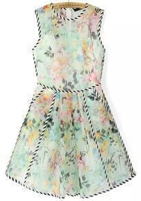 Green Sleeveless Contrast Trims Floral Flare Dress