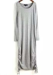 Grey Round Neck Long Sleeve Drawstring Long Dress
