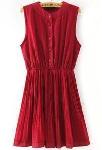 Red Round Neck Sleeveless Buttons Pleated Dress