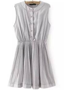 Grey Round Neck Sleeveless Buttons Pleated Dress