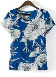 Blue Round Neck Short Sleeve Floral Blouse