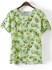 Green Short Sleeve Apple Print Blouse