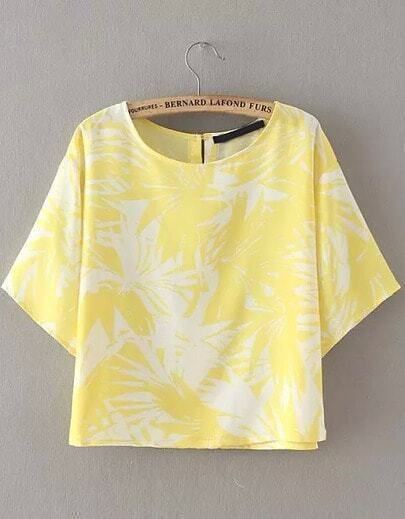 Yellow Short Sleeve Leaves Print Crop Blouse