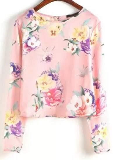 Pink Long Sleeve Floral Crop Blouse