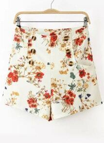 White High Waist Floral Shorts